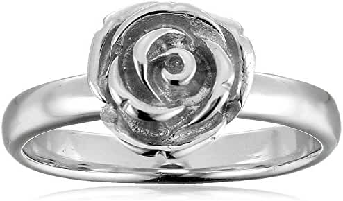 Sterling Silver Rose Ring, Size 7