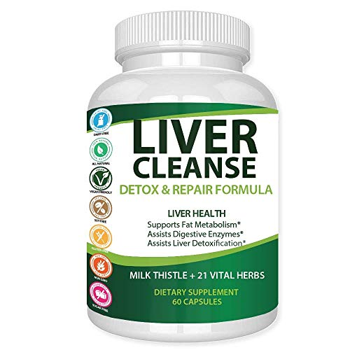 (Liver Cleanse Detox & Repair Formula - Natural Herbal Support Supplement : Milk Thistle Extract, Silymarin Beet Artichoke Dandelion Chicory & Burdock Root Turmeric Ginger Celery Seed & More - GX USA)