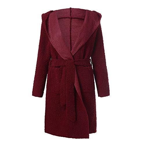 Hiver Trench Long Femmes À Vin Uni Kinlene En Femmes Manteau Pour Veste Ceinture manteau Capuche Rouge Peluche pTq4w7