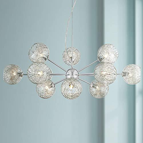 "Wired Nickel Sputnik Chandelier Modern Blown Seedy Glass 32"" Fixture for Dining Room - Possini Euro Design"