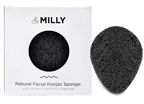 Konjac Sponge for Face | 100% Natural Konjac Facial Sponge w/ Activated Bamboo Charcoal | Gentle Exfoliating and Cleaning for All Skin Types|Eco-Friendly and Biodegradable | For Men and Women | Black