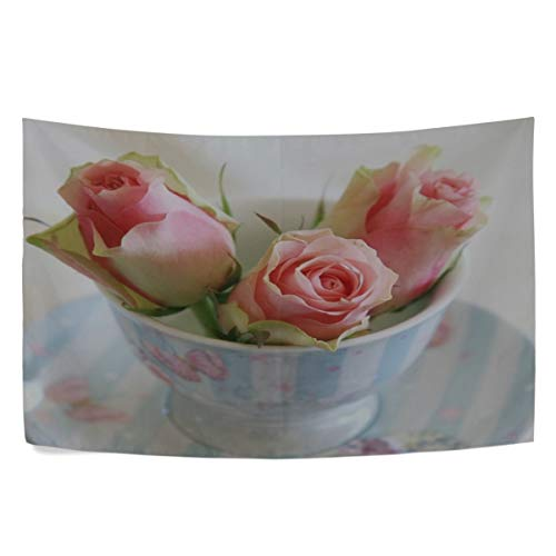 - RH Studio Tapestry Roses Buds Cup Saucer Wall Hanging Tapestries Dorm Livingroom Bedroom Bedspread Sofa Cover Beach Towel(60x40inch)