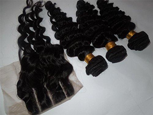 "Wholesale 100% Cambodian Virgin Human Hair 3 Way Part Closure (4X4)+3 Bundles 10""-28"" Deep Wave Natural Color Can be dyed"