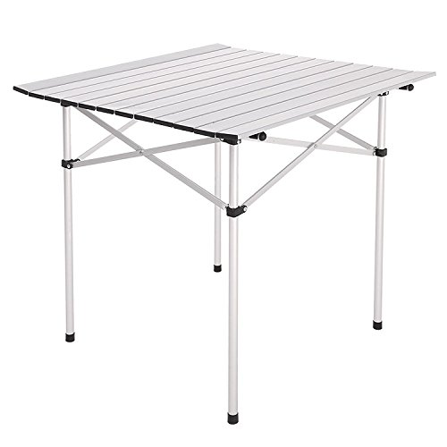 """28""""X28"""" Roll Up Portable Folding Camping Square Aluminum Picnic Table Desk W/Bag Seating Capacity 4 Easy To Clean Top Brand New"""