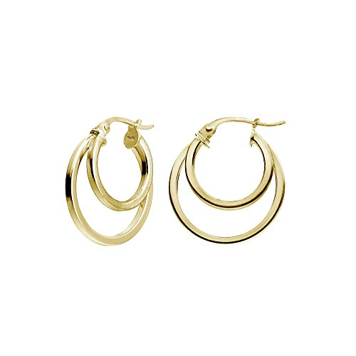 Yellow Gold Flash Sterling Silver Double Circle Round-Tube Polished Hoop Earrings, - Double Hoop Round Gold