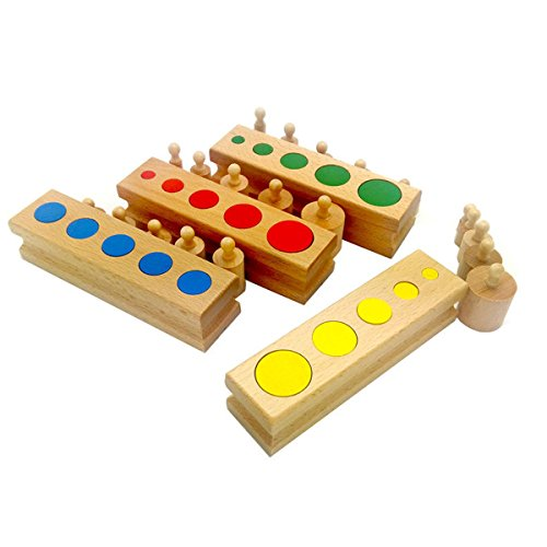 Montessori Knobless Cylinders With Socket Kids Early Development Sensorial Material Colorful Cylinder Ladder Blocks
