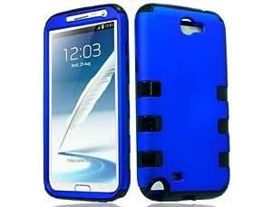 For Samsung GALAXY Note II N7100 HYBRID Hard Rubber Case Black Blue