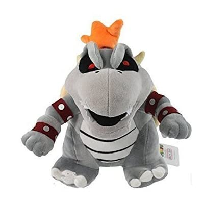 "Super Mario Plush 10"" Gray King Bowser Koopa Doll Stuffed Animals Figure Soft Anime Collection Toy Dark Limited Edition: Toys & Games"