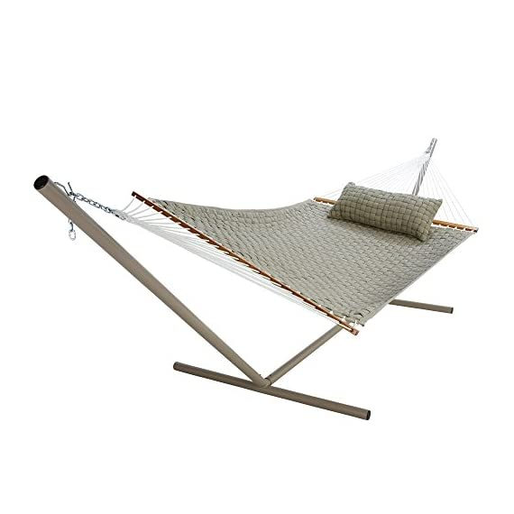 Original Pawleys Island QWEAVEFLAX Softweave Hammock, Flax - Our Soft Weave Hammocks are woven from soft, all-weather OLEFIN acrylic fabric that's resistant to staining, rot, mold and mildew, and with a 1-inch center layer of polyester fiberfill batting, for added comfort. Fabric thread is solution-dyed, so the earthy Flax color isn't applied afterward through washing or dipping, but goes in during the making of the thread fiber itself, becoming a permanent part of the fiber. The ropes attaching the hanging hardware to the hammock bed are made from weather-tough, cottony-feeling soft-spun polyester; we precision-wind all of our own rope ourselves, to exceed even the U.S. military's exacting specifications for strength. - patio-furniture, patio, hammocks - 41L1i4Vk1kL. SS570  -