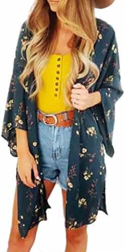 NUWFOR Fashion Womens Chiffon Printing Sandy Beach Cardigan Smock Easy Blouse Tops(Green,XL)