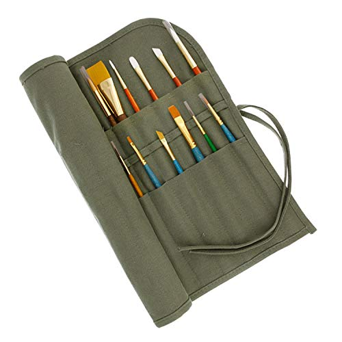 (US Art Supply Deluxe Canvas Art Brush Roll-Up Bag (Brushes NOT Included))