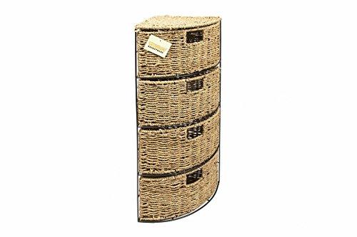 woodluv 4 Drawer Seagrass Storage Bathroom Bedroom Tidy Basket Unit - 65(H) x25(D) cm