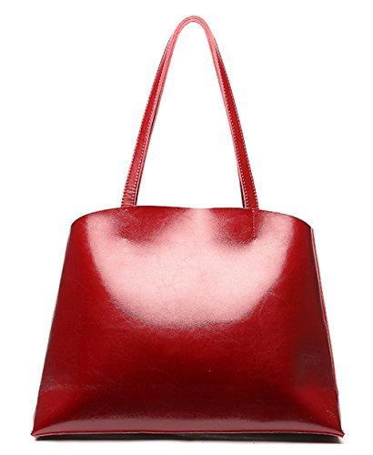 Shoppers Nueva Mujer Y Tinto Piel Hombro Vino Saierlong Bolsos Marrón Genuina De wgXqn5xB