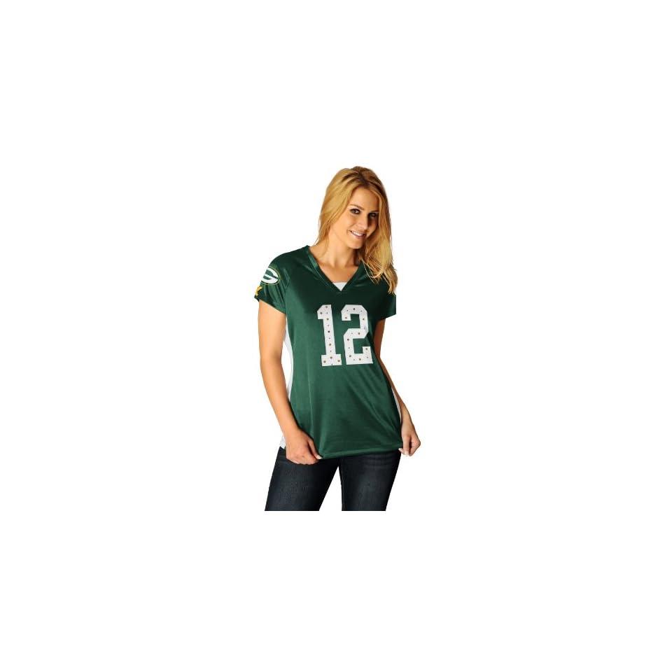 NFL Womens Green Bay Packers Aaron Rodgers Draft Him II Dk Green/White/Yellow Gold Short Sleeve Raglan V Neck Tee
