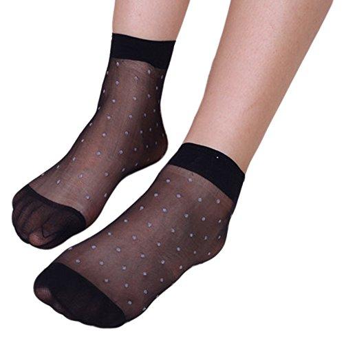 Qunson Women's Polka Dots Ankle High Hosiery Socks Pack of (Nylon Anklet Socks)