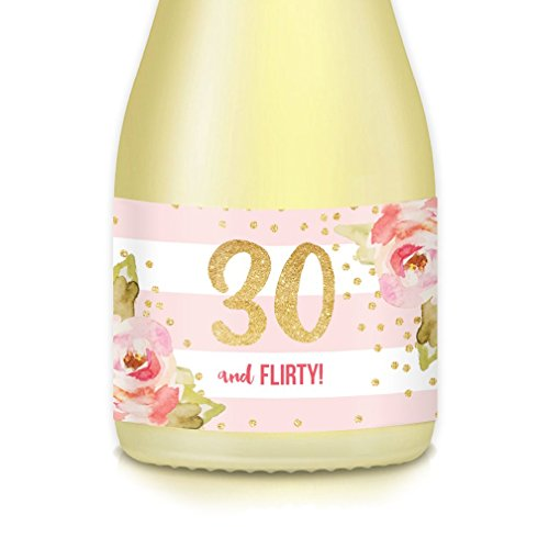 Happy 30th Thirtieth Birthday Party Ideas & Decorations, Mini Champagne & Wine Bottle Labels, She's 30 & Flirty! Celebrate Her THIRTY Years Old, Wife, Sister, Office Coworker, 20 Stickers 3.5
