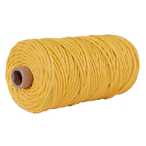 Macrame Cord 3mm 4mm -Black Gray White Cotton Cord -100% Natural Cotton String -Macrame Pattern -Craft Yarn -Rope (Yellow, 3mm)
