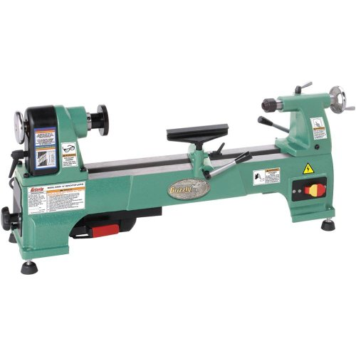 Grizzly G0624 Cast Iron Bench Top Wood Lathe, 10-Inch