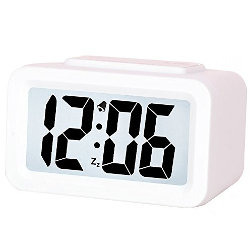 Creative Smart Nightlight Mini Digital Alarm Clock,Battery Operated Alarm Clock With Adjustable Light, Ultra-quiet Bed/ Desktop/Travel Electronic Clock (CSNZ-35)(white)