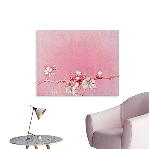 (Anzhutwelve Peach Photographic Wallpaper Japanese Inspired Cherry Blossom Branch Sakura Flowers in Soft Colored Spring Time Funny Poster Pink White W48 xL32)