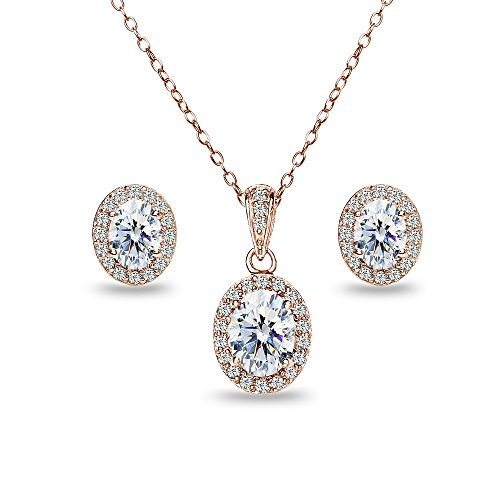 Rose Gold Flashed Sterling Silver Oval Halo Stud Earrings & Necklace Set Made with Swarovski Zirconia