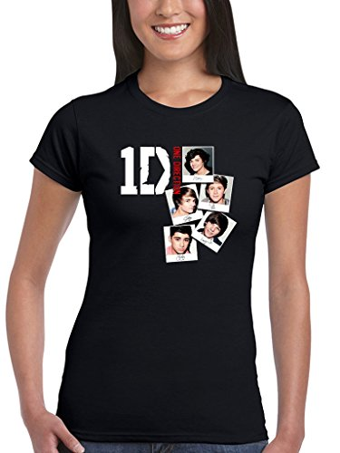 AWDIP Women's Official One Direction Photo Stack Women's T-shirt I Love 1D Teen Pop Music Harry Styles