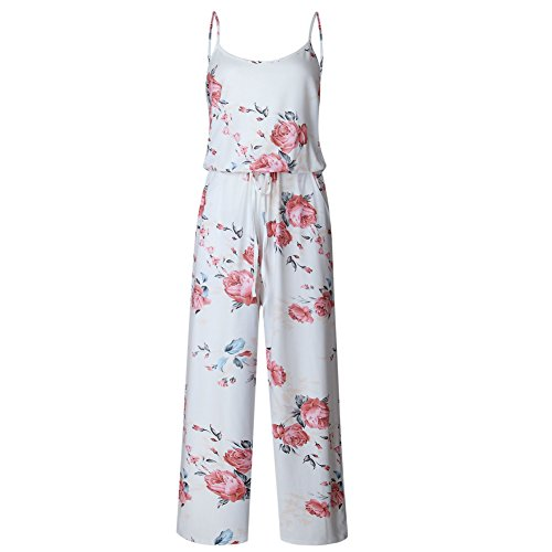 Artfish Women Sexy Sleeveless Spaghetti Strap Floral Printed Summer Jumpers Jumpsuit Rompers (L,White)