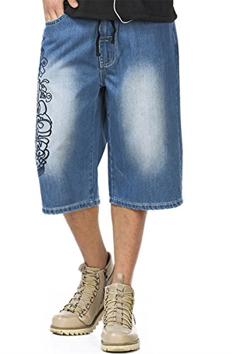 WoowTry Men's Multi-Style Nightclub Denim Shorts Cargo Shorts Hip Hop Baggy Blue5 34 by WoowTry