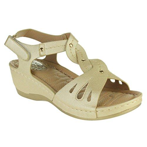 Mujer Señoras Punta abierta Comodidad Cada día Amortiguado Respirable Revestimiento Suave Casual Ponerse Tacón de cuña Sandalias Zapatos Talla Oro