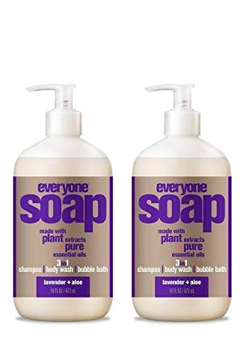 EveryOne Lavender and Aloe 3-in-1 Soap (Shampoo, Body Wash, Bubble Bath) (Pack of 2) With Organic Aloe Vera, Matricaria Flower Extract, Calendula, and Organic Camellia, 16 fl. oz.