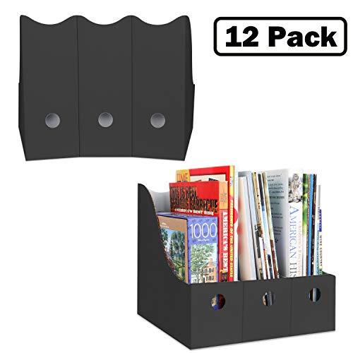 Magazine File Holders Book Organizer (Set of 12, Black), Folder Storage with Adhesive Labels, School Organizer, Office Organization, Sturdy Cardboard Magazine Boxes for Teachers, by Dunwell