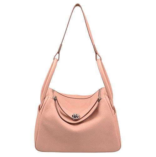 Shoulder Genuine Pink Everyday Bag Hobo Women's Leather Ainifeel Purse v1TIq7n