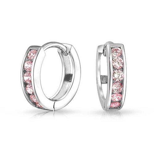 Pink Cubic Zirconia CZ Channel Set Small Kpop Huggie Hoop Earrings For Women Simulated Topaz 925 Sterling Silver