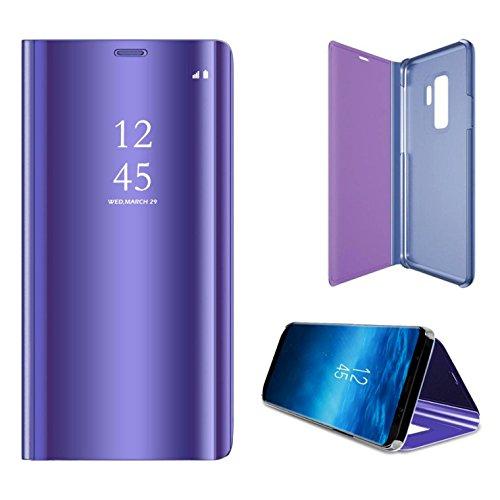 ldea Galaxy S9Plus funda, lujo Clear View Espejo de pie con tapa cubierta de la PC carcasa para Galaxy S9Plus, Púrpura,...