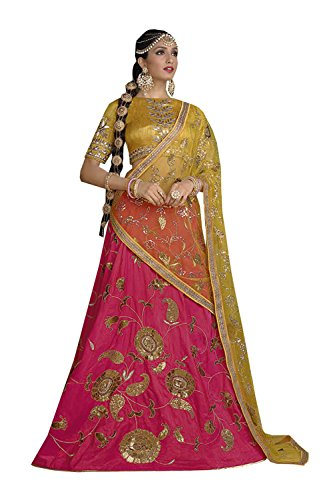 Da Facioun Womens Silk Fabric Pink Pretty Circular Lehenga Style 83883