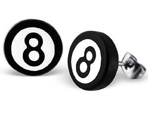 Ein Paar Große Runde Scheibenförmige Ohrstecker - Schwarz und Weisser...