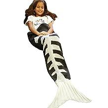 Zaful Mermaid Tail Blanket Super Soft Fashion Sleeping Bags Knitted Crochet Snuggle Best Christmas Birthday Giftfor Girls (Fish Bone, S)