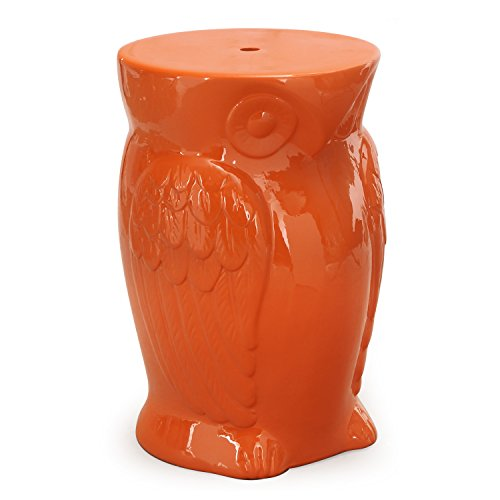 Garden Stool Finish (Home's Art Garden Ceramic Furniture with Wise Orange Owl Round (Red))