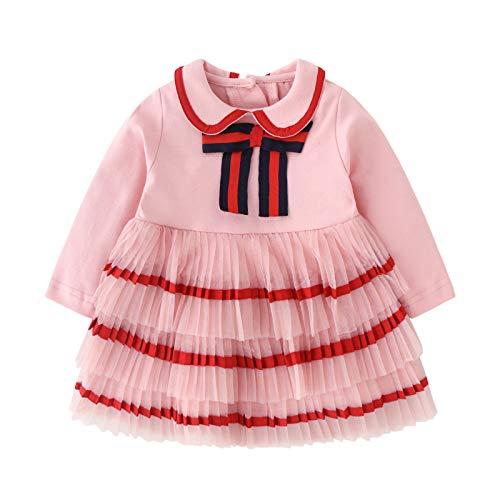 tossun Baby Girls Dress Ruffles Tulle Flower Girls Tutu Princess Dresses Bow Pink