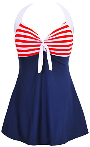 Danify Vintage Sailor Pin Up Swimsuit One Piece Skirtini Cover Up Swimdress, Red, XXXXL(US18)