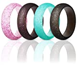 ThunderFit Silicone Rings Wedding Bands for Women 4 Pack (Bronze, White, Silver, Rose Gold, 5.5-6 (16.5mm))