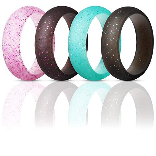 (ThunderFit Silicone Rings Wedding Bands for Women 4 Pack (Black Teal Glitter, Teal Glitter, Pink Glitter, Black with Pink Glitter, 7.5-8 (18.2mm)))