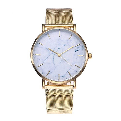 Tydda Fashion Casual Women Brief Marble Sign White Dial Wtaches Gold Steel Mesh Strap Waterproof WristWatch for Lady