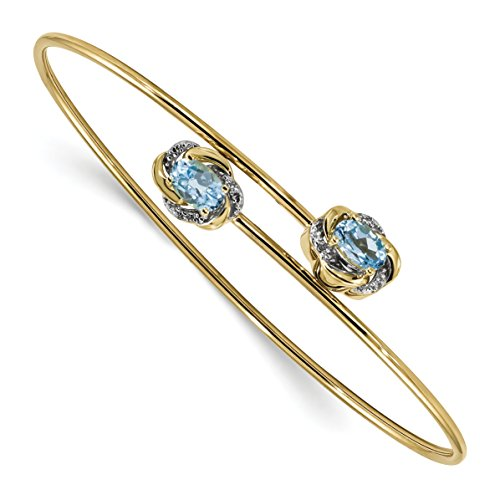 Diamond Heart Fashion Bangle Bracelet (ICE CARATS 14k Yellow Gold 0.03ct Diamond 1.1ct. Blue Topaz Flexible Bangle Bracelet Cuff Expandable Stackable Gemstone Fine Jewelry Gift Valentine Day Set For Women Heart)
