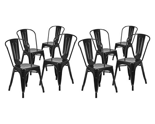 Flash Furniture. Black Metal Indoor-Outdoor Stackable Chair (.8 Pack, - Furniture Flash Ladder Black
