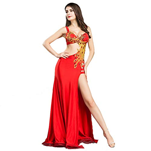 ROYAL SMEELA Belly Dance Costume for Women Professional Belly Dancing Skirt Phoenix Belly Dance Dress, Red, Small Size]()