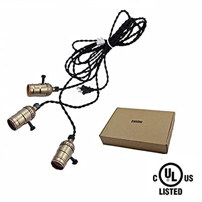 HESSION Vintage Triple Light Sockets Pendant Hanging Light Cord Plug-In Light Fixture with On/Off Switch E26/E27 Base, 16.5FT Twisted Black Textile Cord UL Listed(Copper)