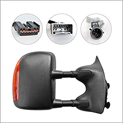 Perfit Zone Towing Mirrors Replacement Fit for 1999-2007 FORD F-250 F-350 F-450 F-550 SUPER DUTY, POWER HEATED, W/AMBER SIGNAL,BLACK (PAIR SET): Automotive