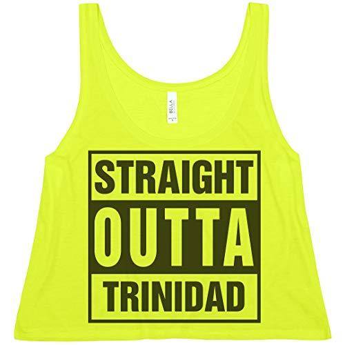 Cute Straight Outta Trinidad : Bella Ladies Flowy Boxy Cropped Tank Neon Yellow]()