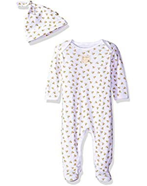 Baby Girls' Footed Coverall and Hat Set
